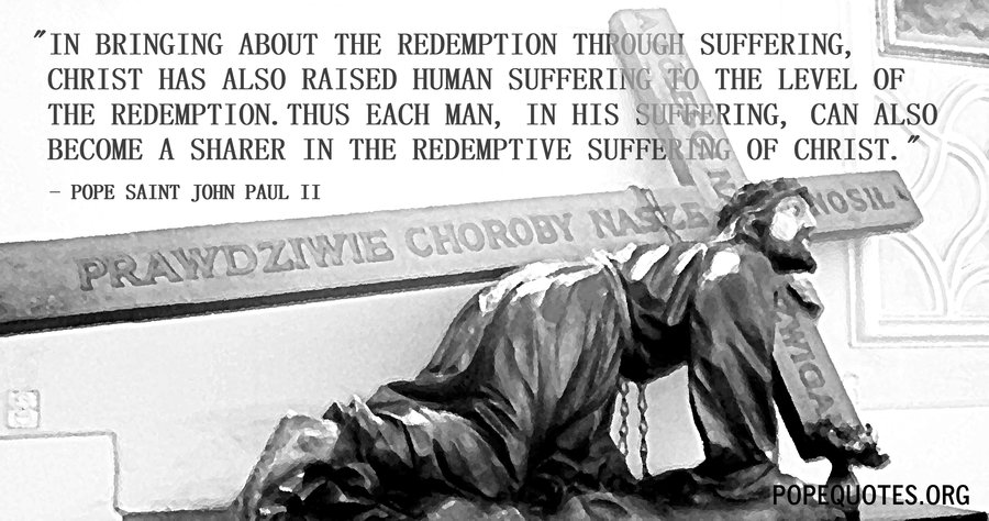in bringing about the redemption through suffering - pope john paul ii